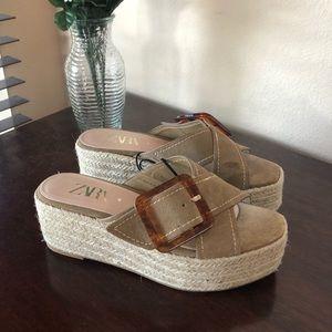 Zara Platform Jute Slides Chunky Sandals Blogger